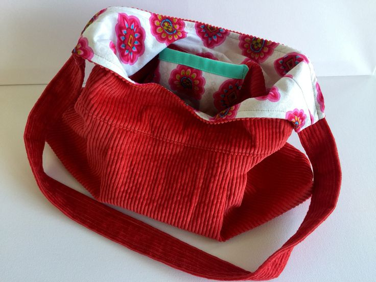 Handmade handbag. Red corduroy with vintage pink and red motif fabric.