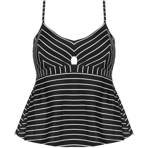 Cactus Black / White Plus Size Cut out striped tankini top ($87) ❤ liked on Polyvore featuring swimwear, bikinis, bikini tops, black, plus size, cutout bikini, white bikini bottoms, plus size bikini tops, plus size swimsuit tops and tankini top