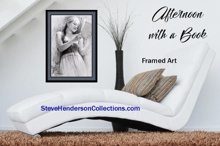 Afternoon with a Book, framed art print from Steve Henderson Collections celebrating leisure time and reading  #reading #book #framedart #homedecor
