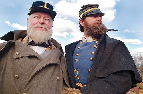 """Stephen Lang with Sen. Robert Byrd on the set of """"Gods and Generals""""."""