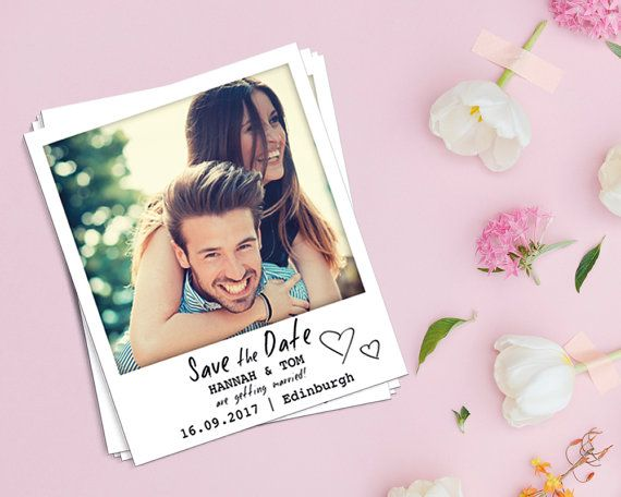 Polaroid / Instant Photo Save the Date Magnet by WeddingraphicsUK
