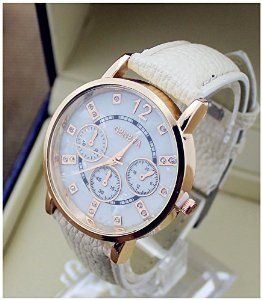 New Geneva Shinning Shell Dial Crystal Women Ladies Gold Dress Wrist Watch White