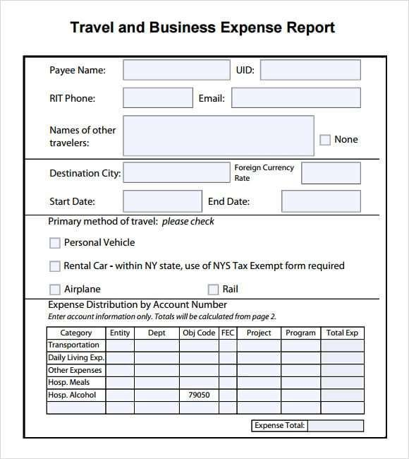 Expense Report Template 6 Word Template Treatment Plan Template Report Template