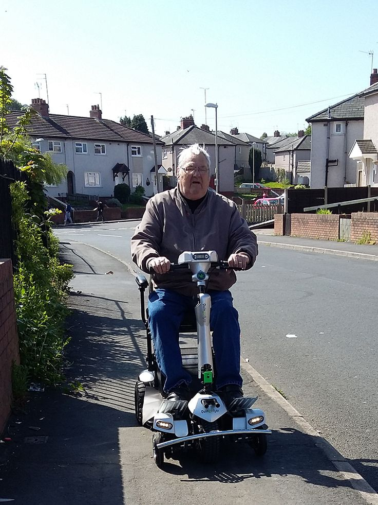 Mr Jewkes enjoying his maiden voyage aboard his Flyte mobility scooter get on track to find your perfect Quingo