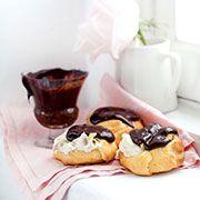Banana cream and chocolate eclairs