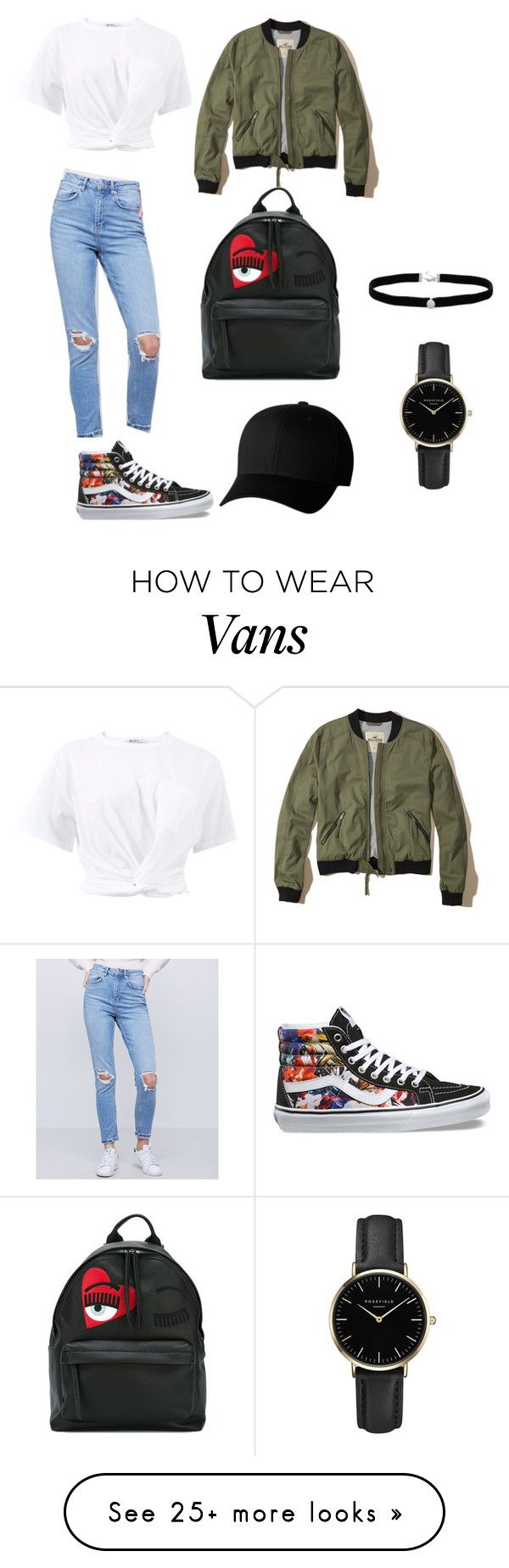"""""""RM"""" by buket-tugay on Polyvore featuring T By Alexander Wang, Hollister Co., Vans, Chiara Ferragni, Flexfit, ROSEFIELD and Amanda Rose Collection"""