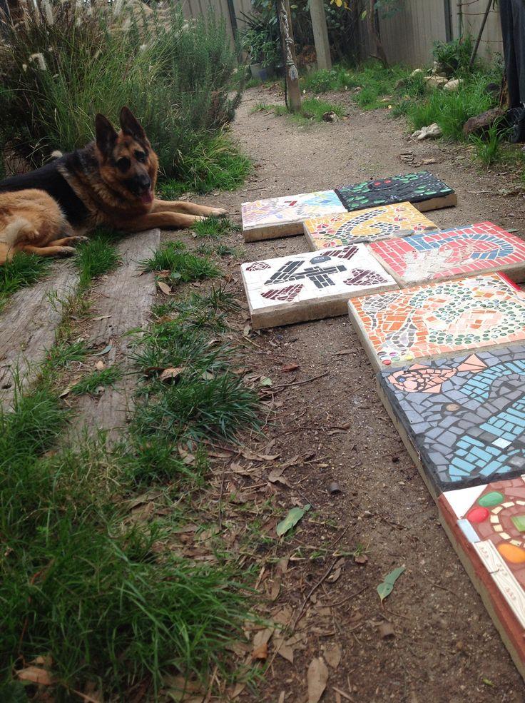 Hopscotch mosaic garden pavers