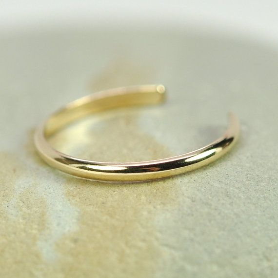 gold toe ring 14k yellow gold fill half simple