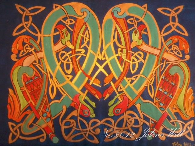 Celtic motif from the book of kells, hand painted with acrylic paint. This item is for sale on etsy : forestelvencreations