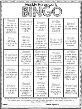 A Year of Editable Weekly Homework Bingo Boards: by The Third Wheel | Teachers Pay Teachers