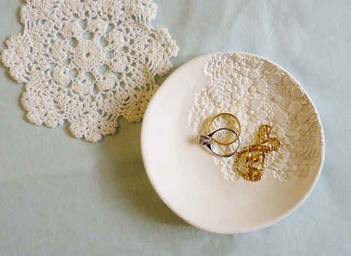 Doily-Stamped Bowl, polyclay with rover stamped crochet impression