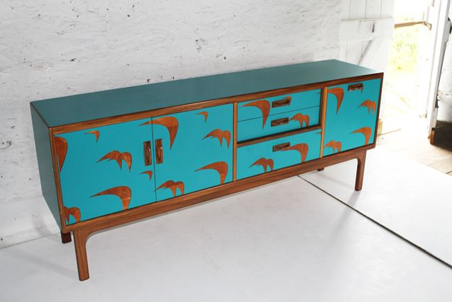 Lucy Turner specialises in upcycling mid-century furniture, this lovely piece was made for us.Turner Sideboard, Design Junction, Cut Formica, Bermudabird Lucy, Sideboard Projects, Laser Cut, Lucy Turner, Design Festivals, Turner Furniture