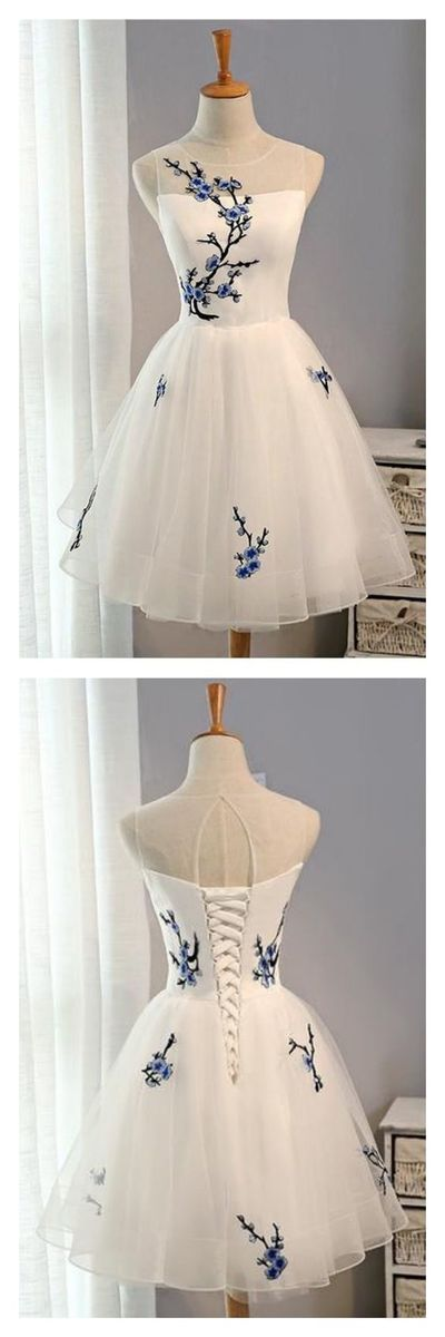 A Line White Embroidery Homecoming Dresses Party Dresses Short Prom Dresses Cocktail Dresses Graduation Dress