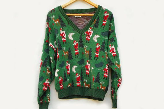 Vintage 90s Golf Christmas Sweater Ugly by SycamoreVintage on Etsy