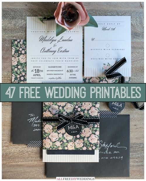 47 Free Wedding Printables | Cheap Eats and Thrifty Crafts