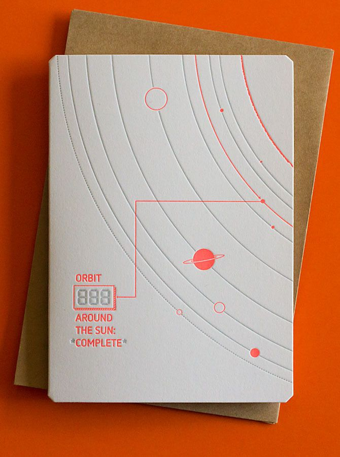 $7 - Orbits Birthday Card by The Hungry Workshop - Letterpress Printed #letterpress #greetingcard