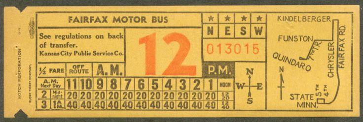 Bus transfer from Kansas City (Missouri) Public Service (1942)