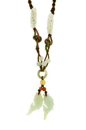 Known for it symbolic meaning of wealth, these double Koi fishes jade necklaces…