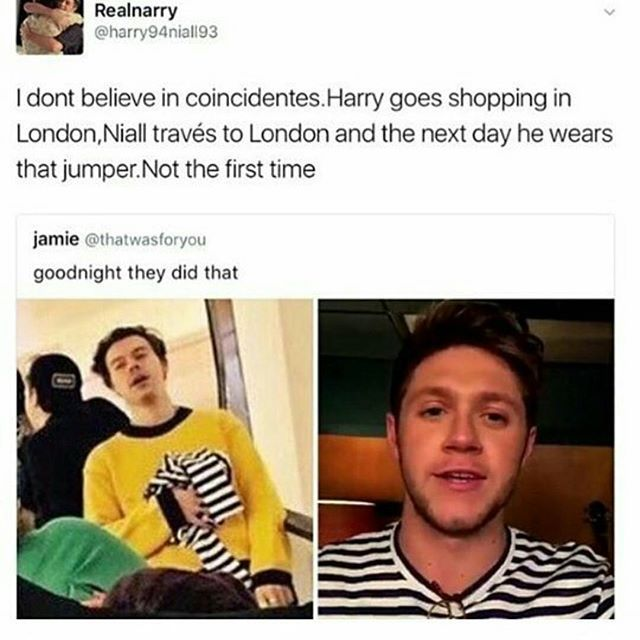 I hate tht If Louis was wearing the jumper everyone would have freaked out over Larry but nah its just niall ....
