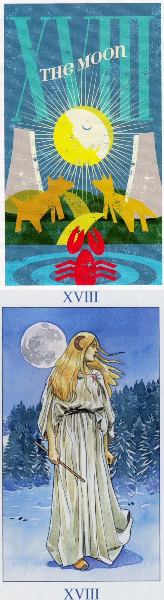 THE MOON: illusions and misinterpretation (reverse). Mid Centurian Tarot deck and Sorcerer Tarot deck: real free psychic readings, best free tarot reading and free one card tarot. Best 2018 tarot altar and halloween. #pods #pentacle #gothic #android #trickortreat