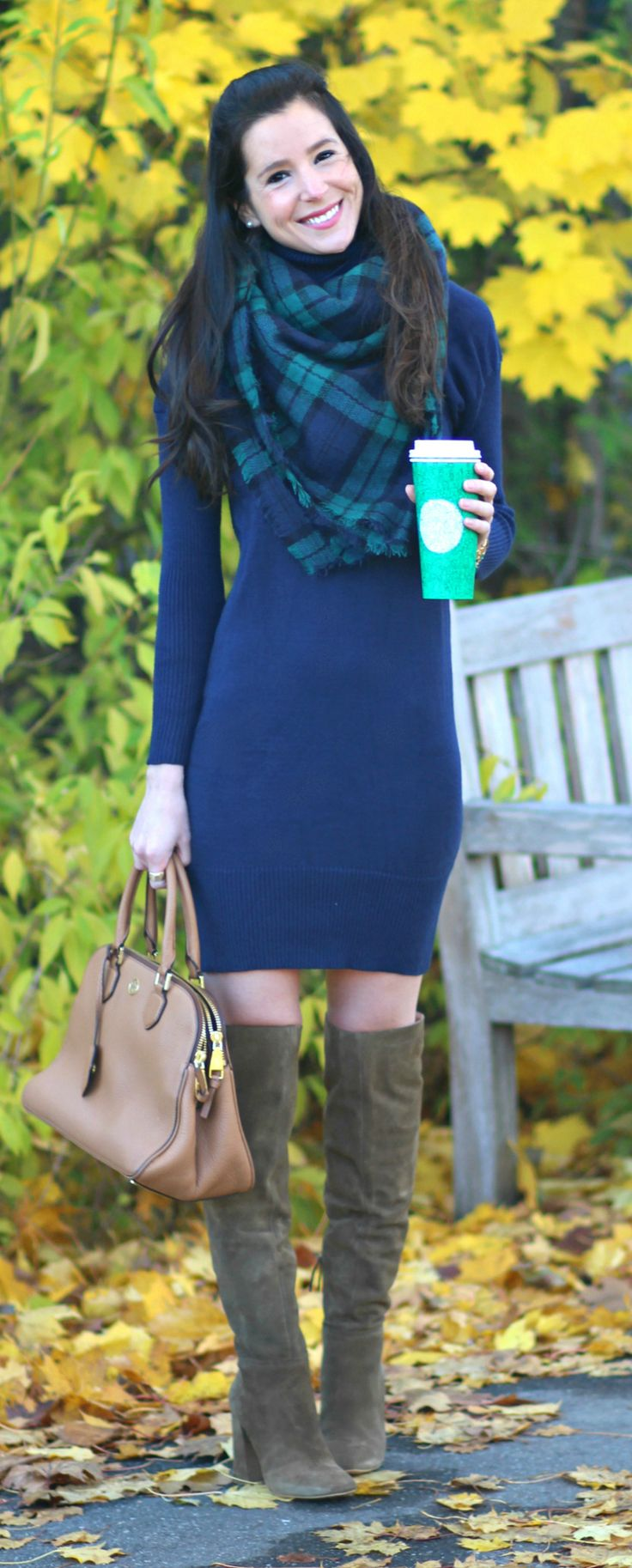 Cute fall outfit idea for young women! Navy blue turtleneck sweater dress, green and blue tartan blanket scarf, and cognac over-the-knee boots. So many pieces of this ensemble could be re-worn for dozens of classic fall outfits!