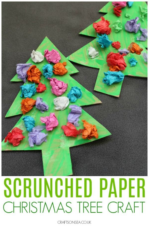 Scrunched Paper Christmas Trees Christmas Tree Crafts Preschool Christmas Toddler Crafts