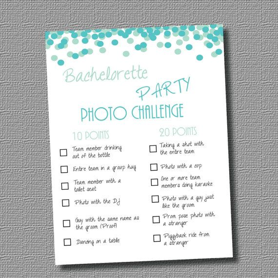 INSTANT DOWNLOAD PDF Bachelorette Party Game Photo Challenge Blue On Etsy