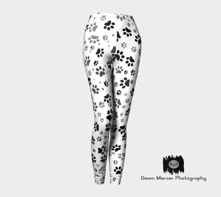 Paw Print Leggings, Dog Paw Print Leggings, Yoga Leggings, Workout Tights, Doggy Paw Print Leggings Artist Designed Custom Printed by DawnMercerPhoto on Etsy