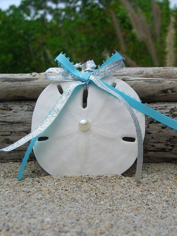 Sand Dollar Beach Wedding Favor Ornament-AQUA BLUE-Tiffany Aqua Blue Ornament, Beach Home Decor, Nautical Christmas Ornaments on Etsy, $9.50