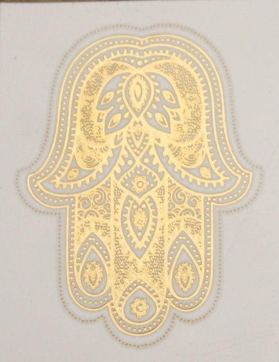 Hamsa  Metallic Temporary Tattoo by Royaltats on Etsy