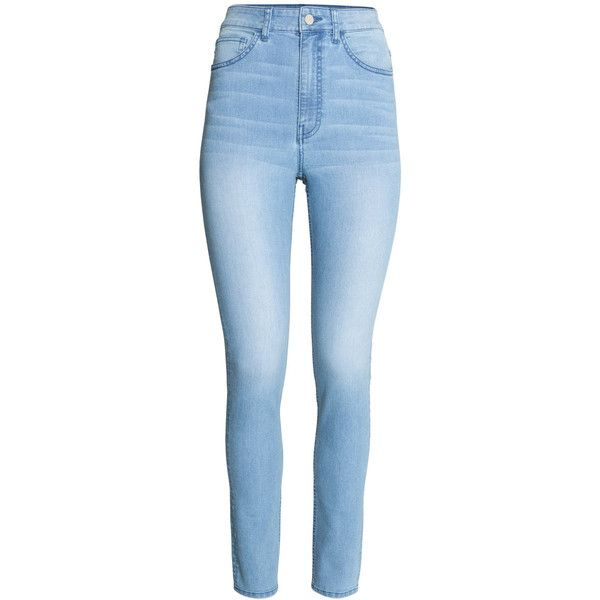 H&M Trousers High waist ($26) ❤ liked on Polyvore featuring pants, bottoms, jeans, high waisted trousers, 5 pocket pants, blue pants, five pocket pants and blue high waisted pants