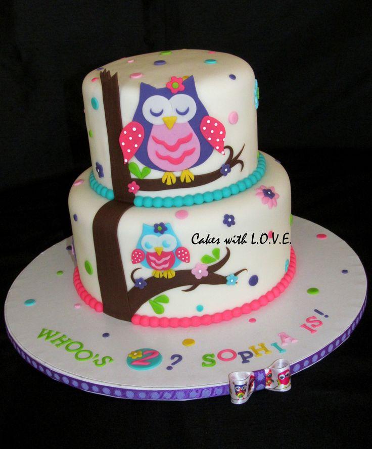 Owl Birthday Cakes for Girls   Owl Blossom Cake - Cake Theater