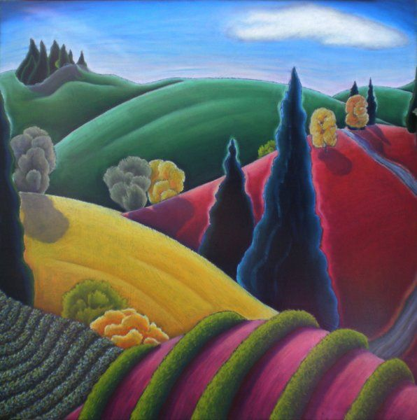 """One of my favorite Oregon landscape artists! Jan Aushunas. Big Pink Hill, oil pastel on panel, 30"""" x 30"""", $1,900. Available at the Mary Lou Zeek Gallery."""
