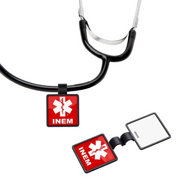 Anti-Microbial Square Stethoscope ID Tag ST55 - This item features a large, square decorating area, offering plenty of space to add your logo using a poly dome label imprint method. Plus, it can be personalized, by hand, on the back side label. This item is one piece with a clamshell design that snaps together. Every stethoscope should have one! What a great choice for pediatricians, doctor office personnel and pharmaceutical companies. #propelpromo