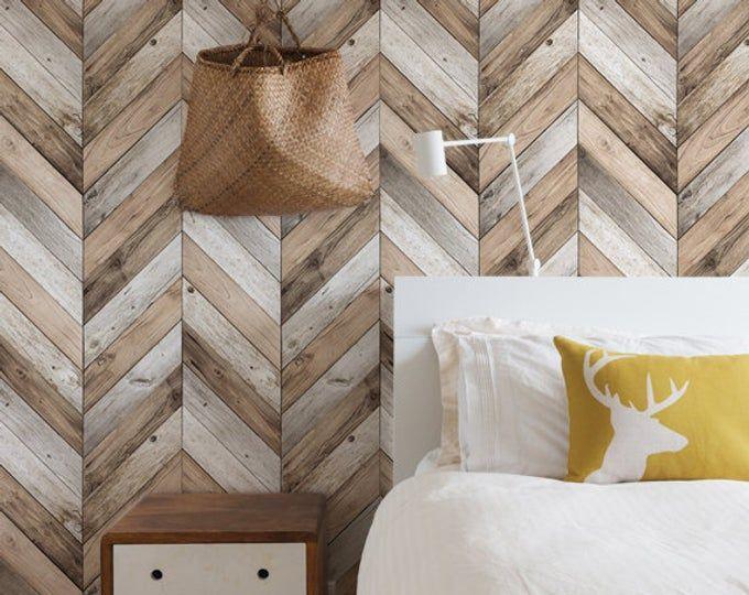 Chevron Wood Herringbone Wallpaper Original Self Adhesive Etsy Herringbone Wallpaper Feature Wall Bedroom Distressed Wood Wallpaper