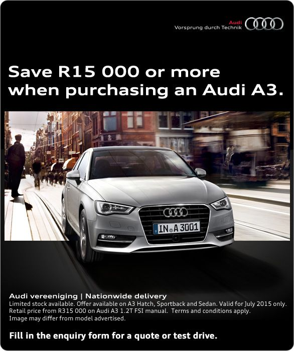 Save R15 000 or more when purchasing a new Audi A3. Audi A3 1.2T FSI manual from R315 000. Limited stock available.