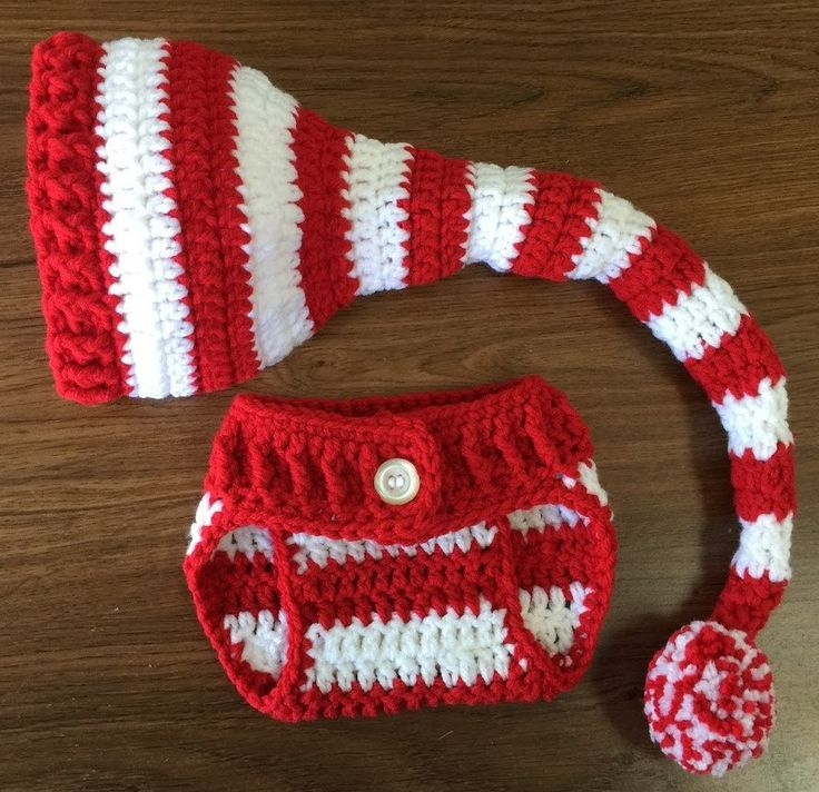 Baby Elf Hat and Diaper Cover, Crochet Elf Hat, Newborn Christmas Outfit,  Red & White Elf Hat, Christmas Hat, Baby Photo Prop, Baby Gift - 13 Best Christmas Dress Ideas Images On Pinterest Crochet Ideas