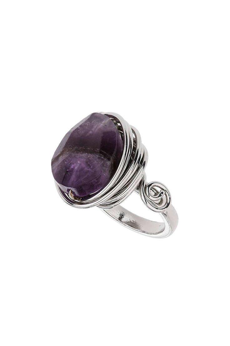 Amethyst Wrap Stone Ring