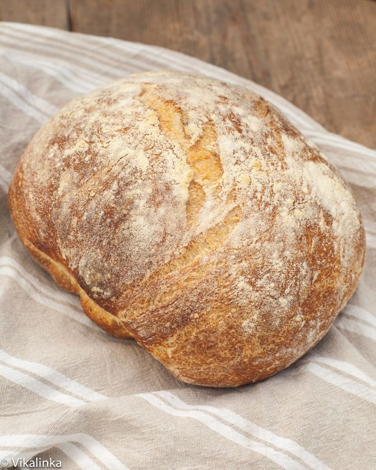No Knead Farmhouse Bread. Start the afternoon before baking and don't skimp on the second rise. Next time, try increasing everything but the salt by a third since the dutch oven is big enough. Cut cook temp to 475F  (my oven only).