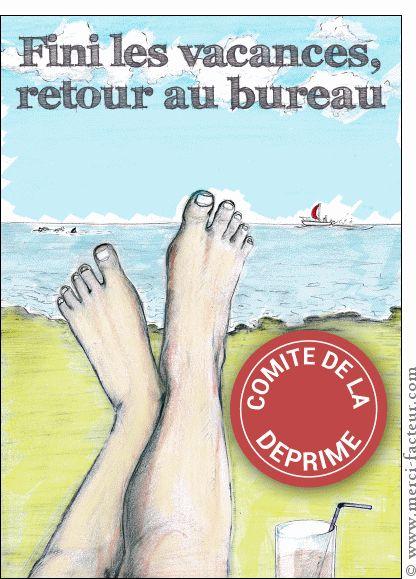 Carte Fini les vacances retour au bureau pour envoyer par La Poste, sur Merci-Facteur !