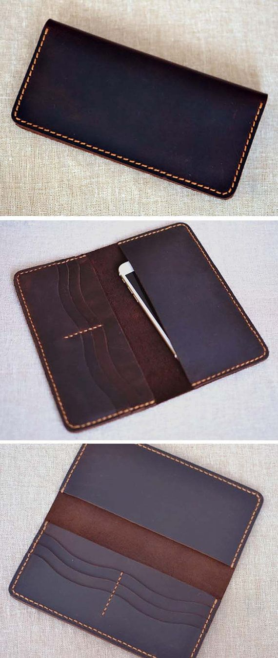 Handmade wallet Mens leather wallet Hand sewing by Yesterwish. LARGE WALLET FOR MEN. OILED LEATHER