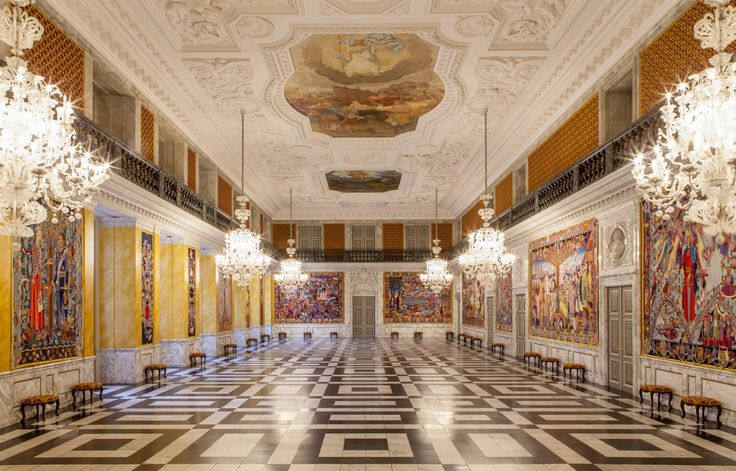 The knight's hall with gobelin tapestries by the Danish artist Bjørn Nørgaard at Christiansborg Palace, Copenhagen