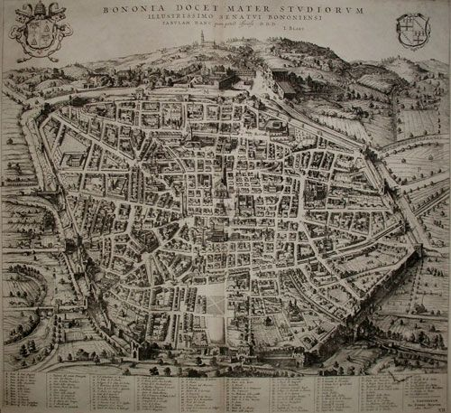 "JOAN BLAEU - PIERRE MORTIER  ""Bononia Docet Mater Studiorum""  Dall'opera: Nouveau Theatre de l'Italie..., Amsterdam, 1704"