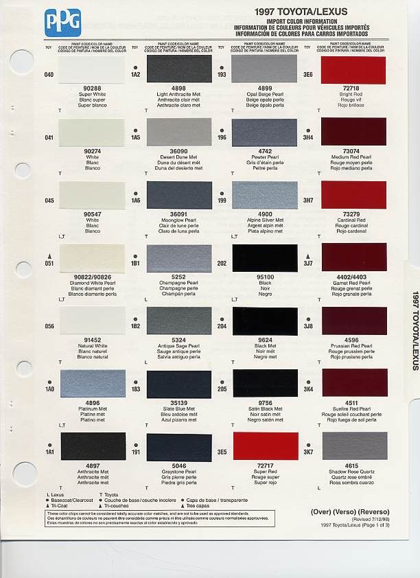 Ford Paint Color Chart >> auto paint codes | 1997 Toyota Paint Codes | Auto paint colors | Codes | Pinterest | Auto paint ...
