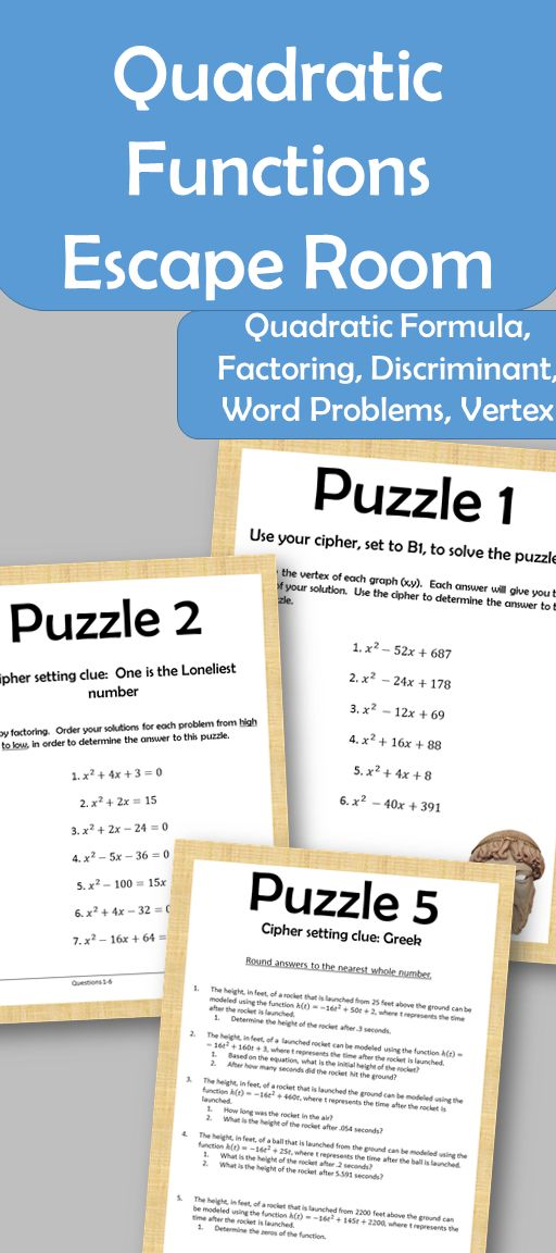 Can your students escape the time warp and arrive safely back in present time? Find out with this escape room. This escape room contains 5 puzzles requiring students to demonstrate knowledge quadratic functions and finding a vertex, factoring, using the quadratic formula and solving word problems. Students will use a cipher to determine the corresponding letters and clues for each puzzle. By the end of the 5 puzzles students will have a phrase they must use to escape the clutches of time.