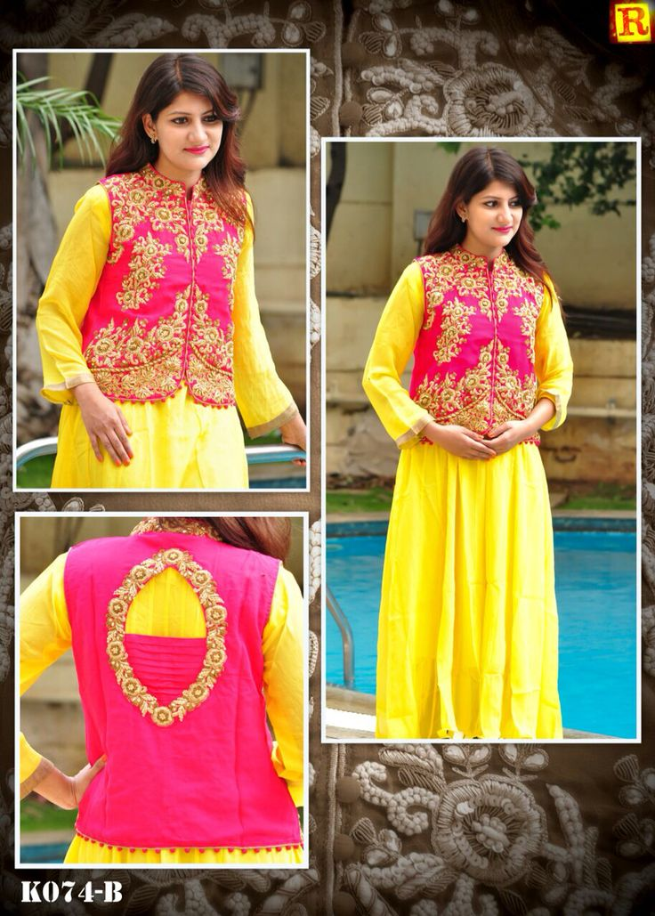 "Yellow Long full suit with jacket in full hand work.  Available in size 34"" to 56"". To order what's app on +919840640665  Follow us on www.facebook.com/beigebliss"