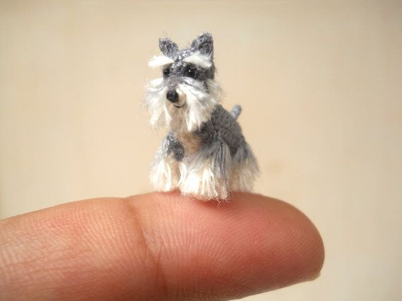 Handmade tiny crochet dog - The salt and pepper miniature schnauzer is made of embroidery threads, sewn micro plastic eyes and stuffed by polyfil.    Size: