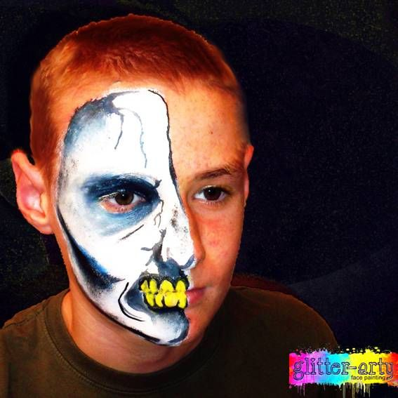 skull boys face painting by Glitter Arty Face Painting Bedford, Bedfordshire