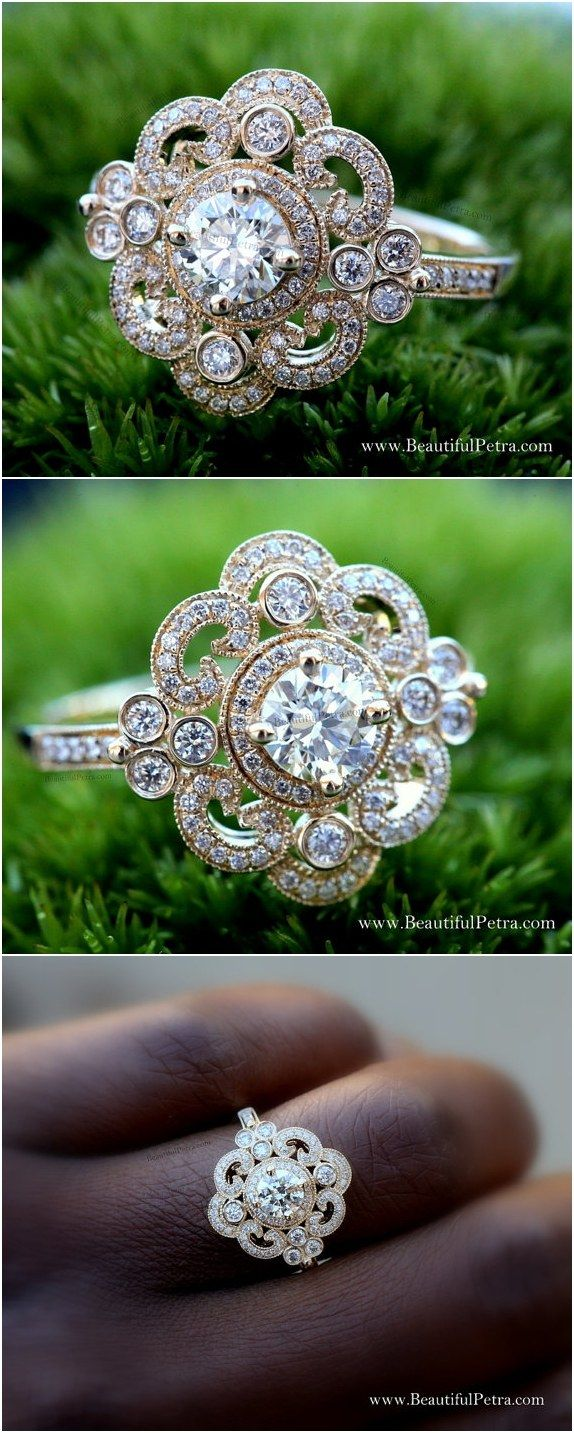 Round Diamond Engagement Ring or RIGHT Hand Ring / http://www.deerpearlflowers.com/floral-inspired-engagement-rings/