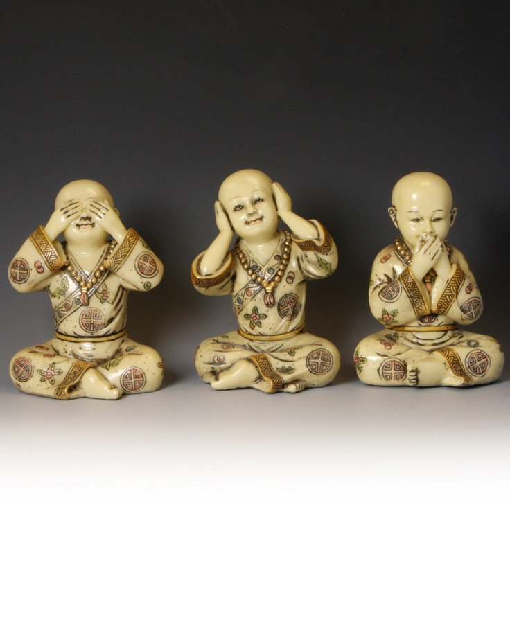 Set Of 3 Baby Buddhist Monk Statues See No Evil Hear No